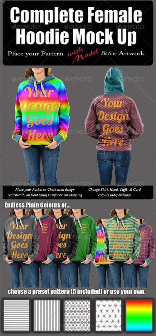 GraphicRiver Complete Female Hoodie Mock Up with Model