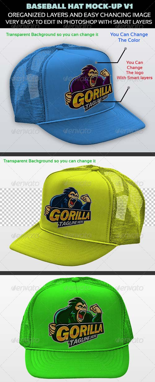 GraphicRiver Baseball Hat Mock-up V1