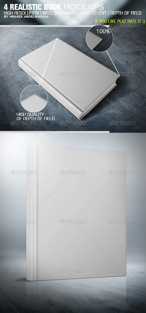 GraphicRiver 4 Realistic Book Cover Mock Ups