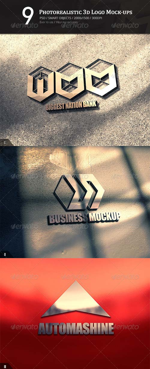GraphicRiver 9 Photorealistic 3D Logo Mock-ups