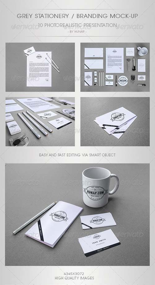 GraphicRiver Grey Stationery/Branding Mock-Up