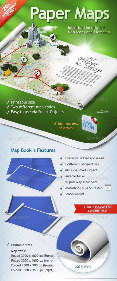 GraphicRiver Paper Maps - The stage for your 3D Maps and Icons