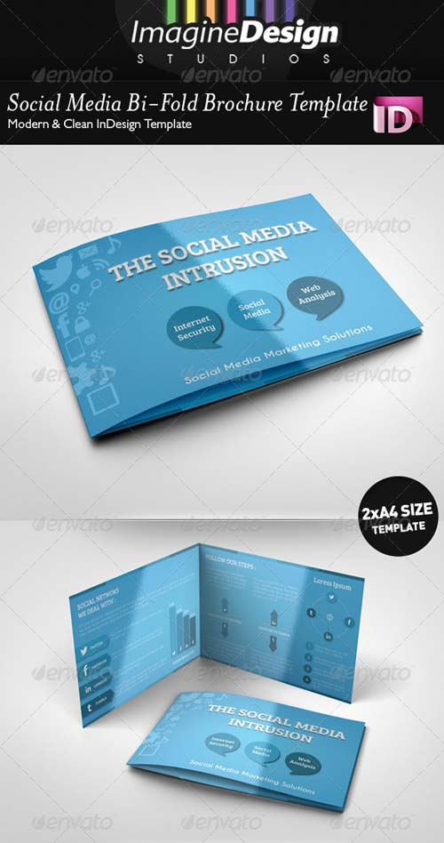 GraphicRiver Social Media Bi-Fold Brochure Template