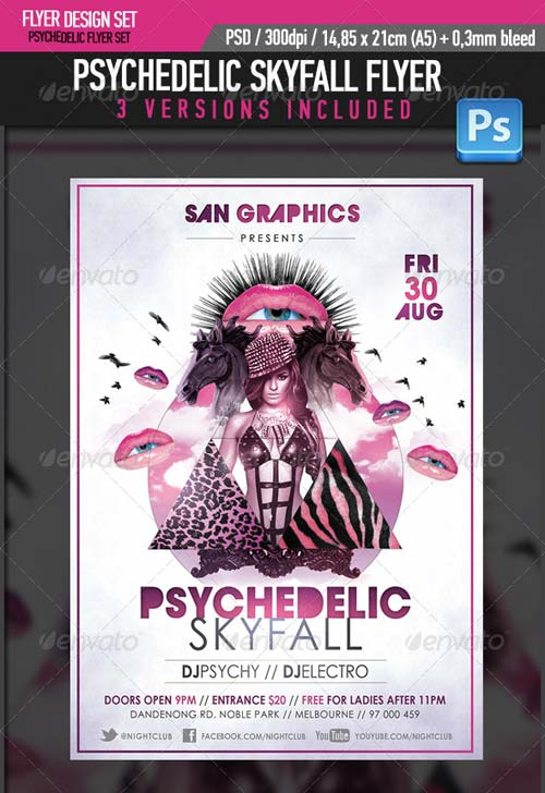 GraphicRiver Psycedelic Skyfall Party Flyer Template