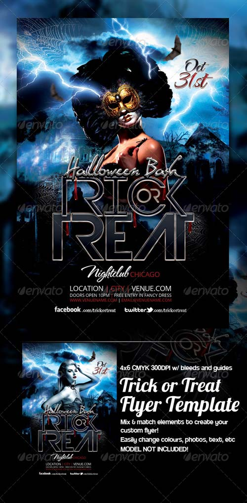 GraphicRiver Trick or Treat Halloween Flyer Template