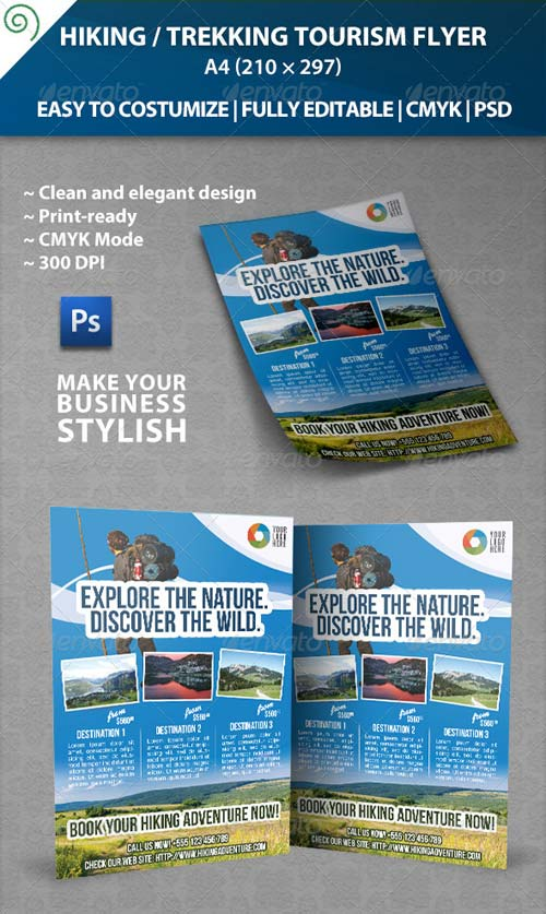 GraphicRiver Hiking / Trekking Tourism Flyer