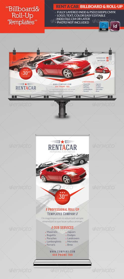 GraphicRiver Rent A Car Billboard & Roll-Up Template
