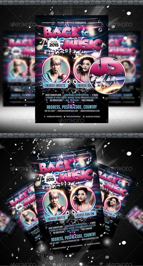 GraphicRiver Back to Music Flyer Template