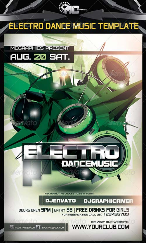 GraphicRiver Electro Dance Music Party Flyer Template