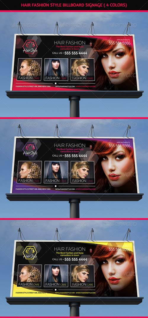 graphicriver hair salon fashion style billboard signage