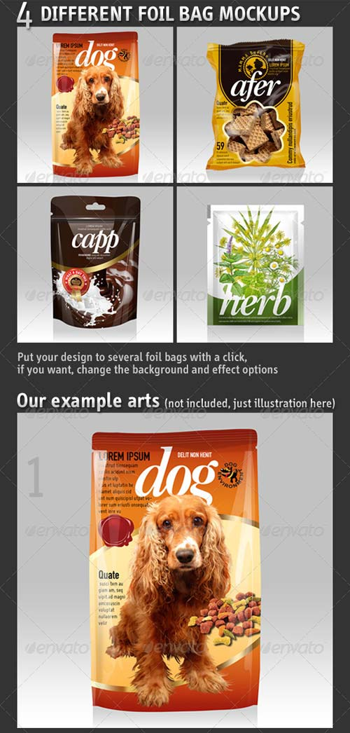 GraphicRiver 4 Different Foil Bags Packaging Mockups
