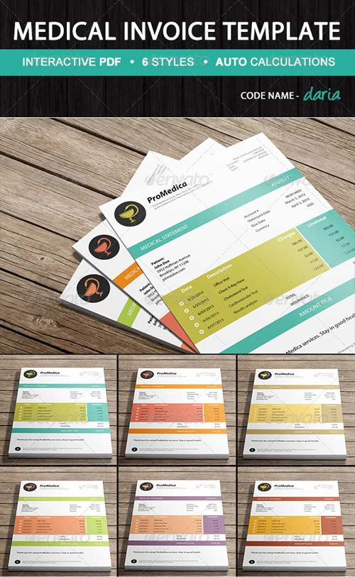 GraphicRiver Medical Invoice Template - Daria | Ready-to-Use
