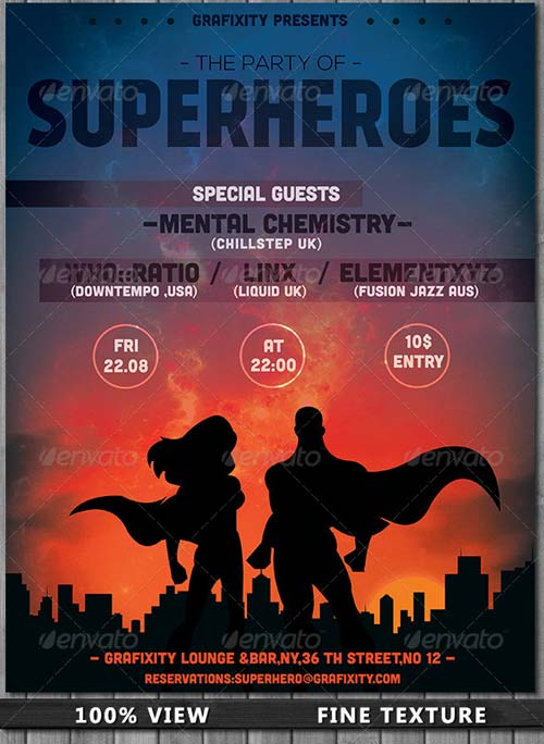 GraphicRiver SuperHero - Themed Party Flyer/Poster