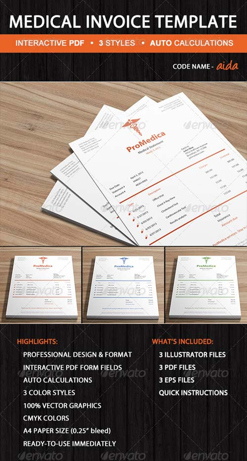 GraphicRiver Clean Medical Invoice Template - Aida