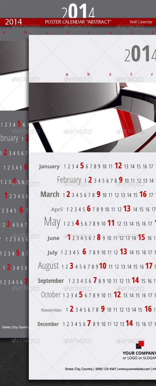 GraphicRiver Poster Calendar Abstract Template 2014