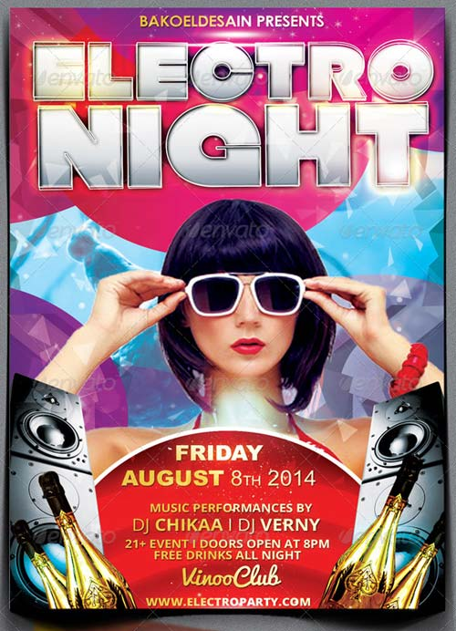 GraphicRiver Electro Night Party Flyer
