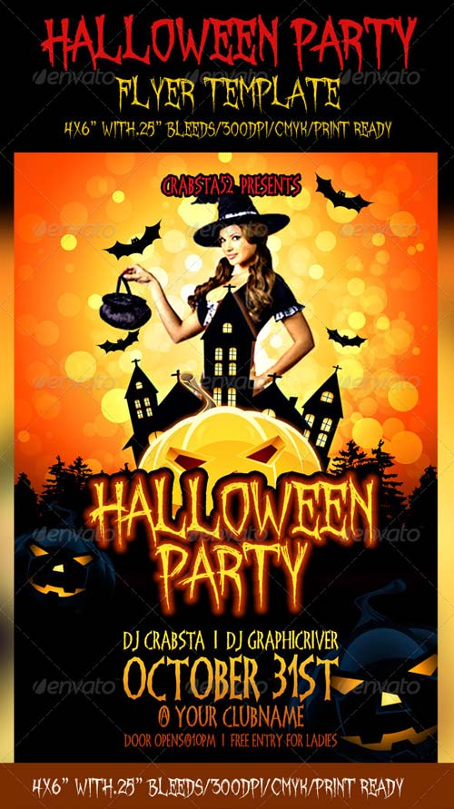 graphicriver halloween party flyer template. Black Bedroom Furniture Sets. Home Design Ideas