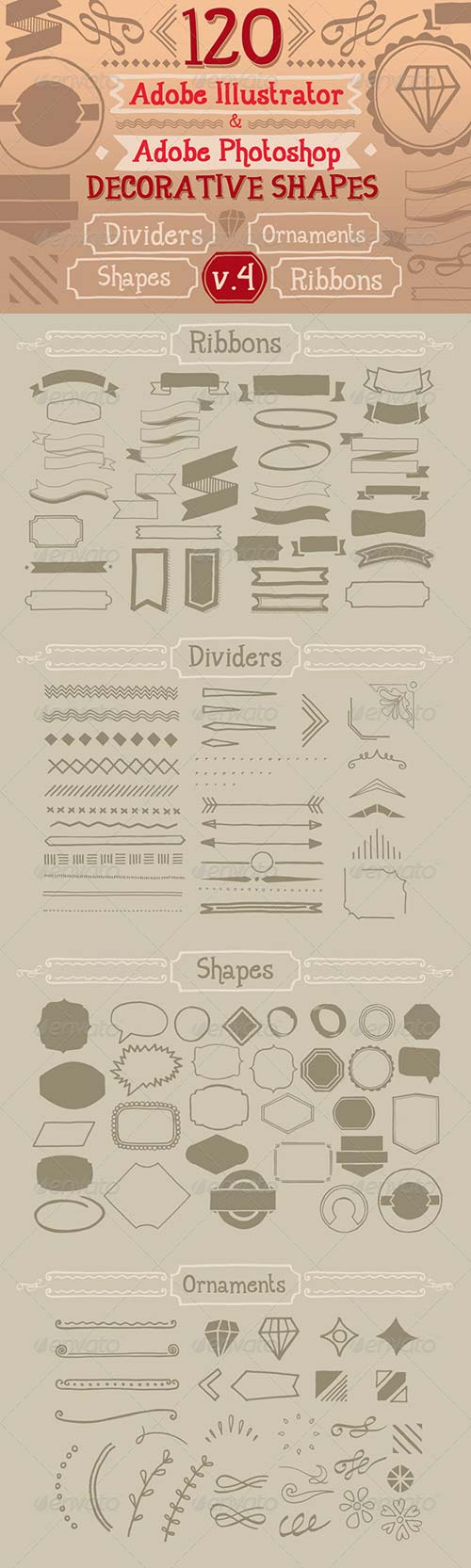 GraphicRiver 120 Handwritten Decorative Shapes 04