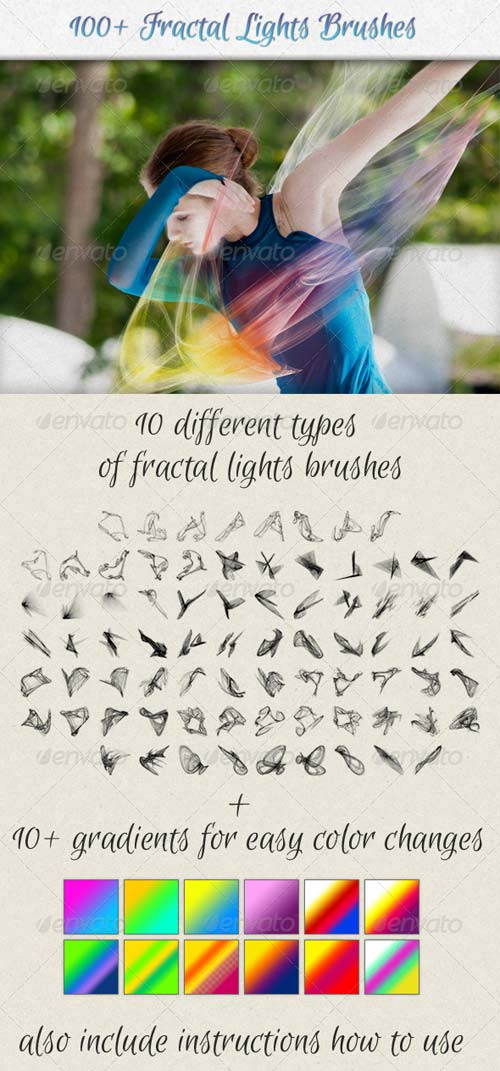 GraphicRiver 100+ Fractal Lights Brushes for Visual Effects