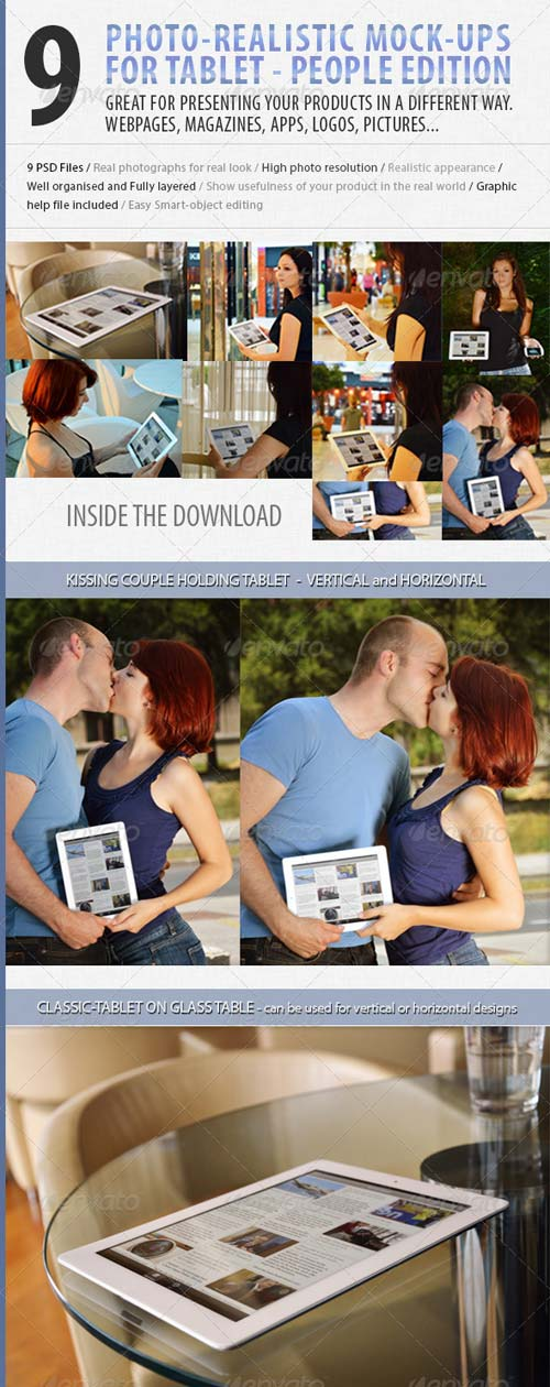 GraphicRiver 9 photo Tablet mock-ups: People edition