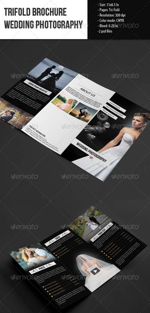 GraphicRiver Trifold Brochure for Wedding Photography