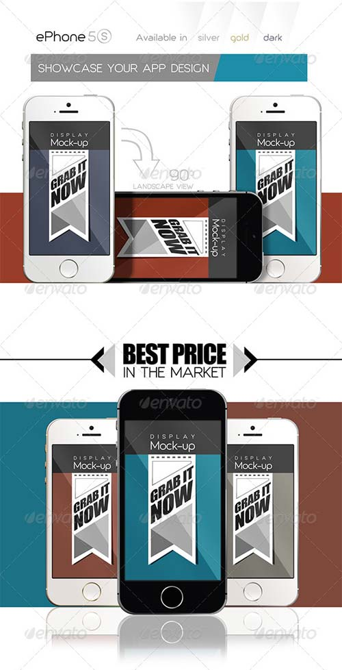 GraphicRiver ePhone 5s MockUps Display/Skin 3 colors Front&back
