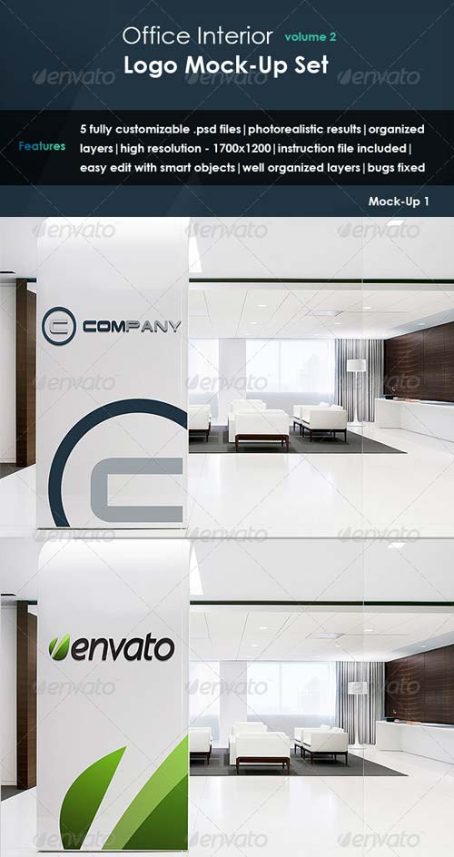 GraphicRiver Office Interior - Logo Mock-up Set Vol.2