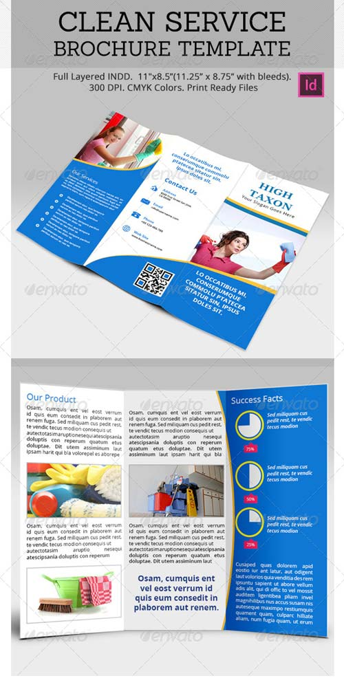 GraphicRiver Clean Service Brochure Template