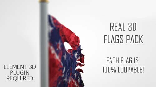 Real 3D Flags pack - After Effects Project (Videohive)