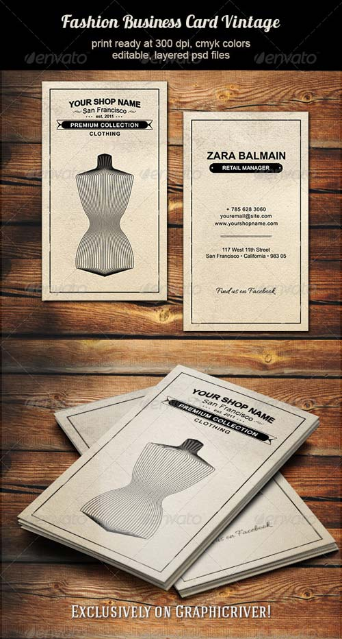 GraphicRiver Fashion Business Card Vintage