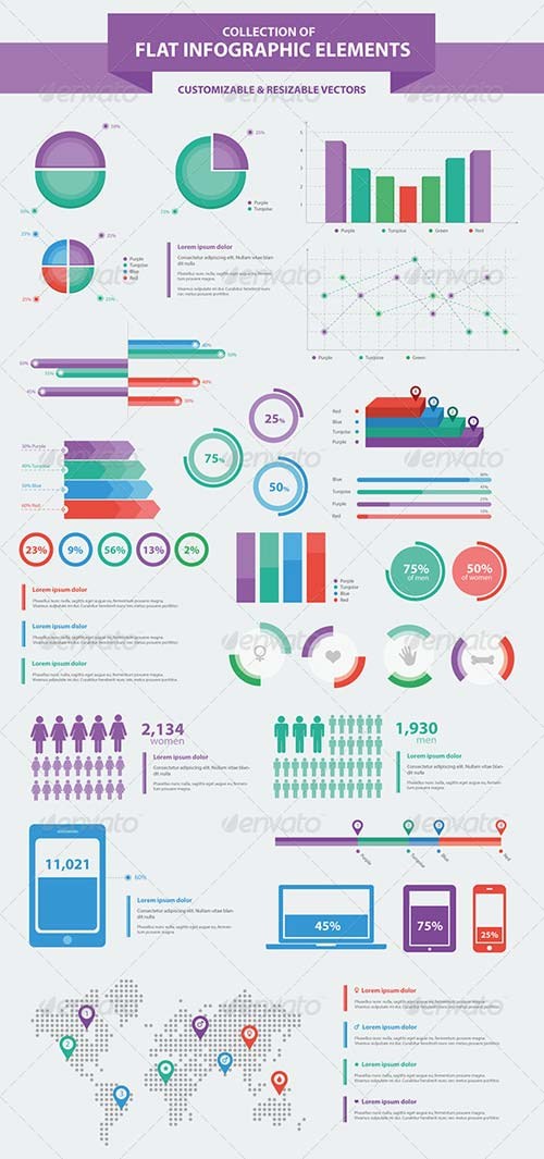 GraphicRiver Flat Infographic Elements Collection v2.0