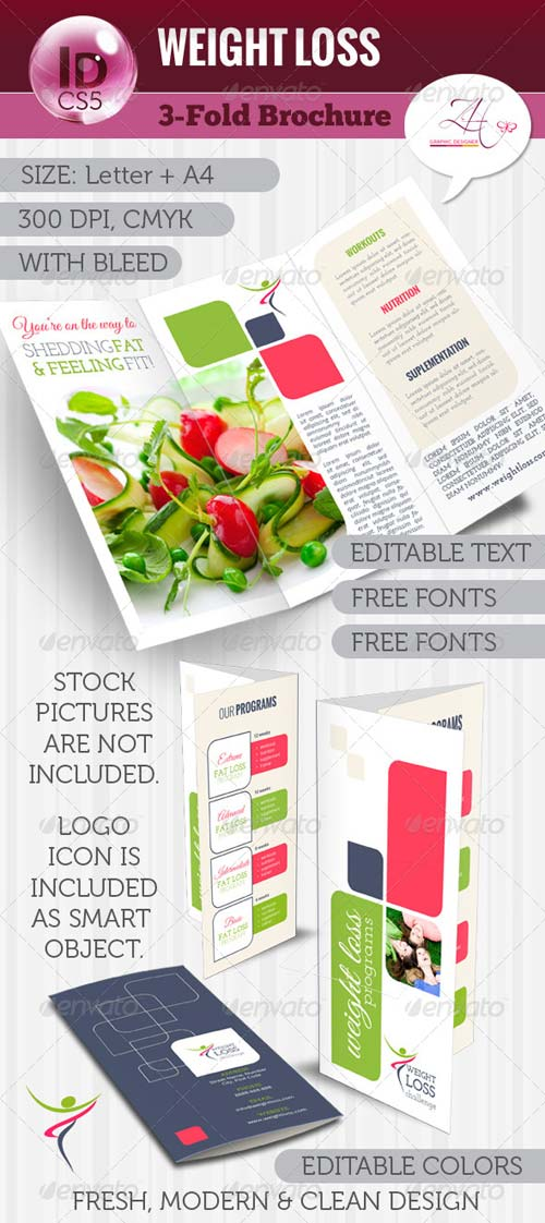 GraphicRiver Weight Loss Trifold Brochure