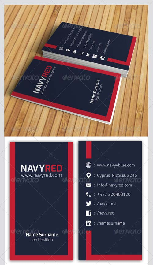 GraphicRiver Navy Red Business Card