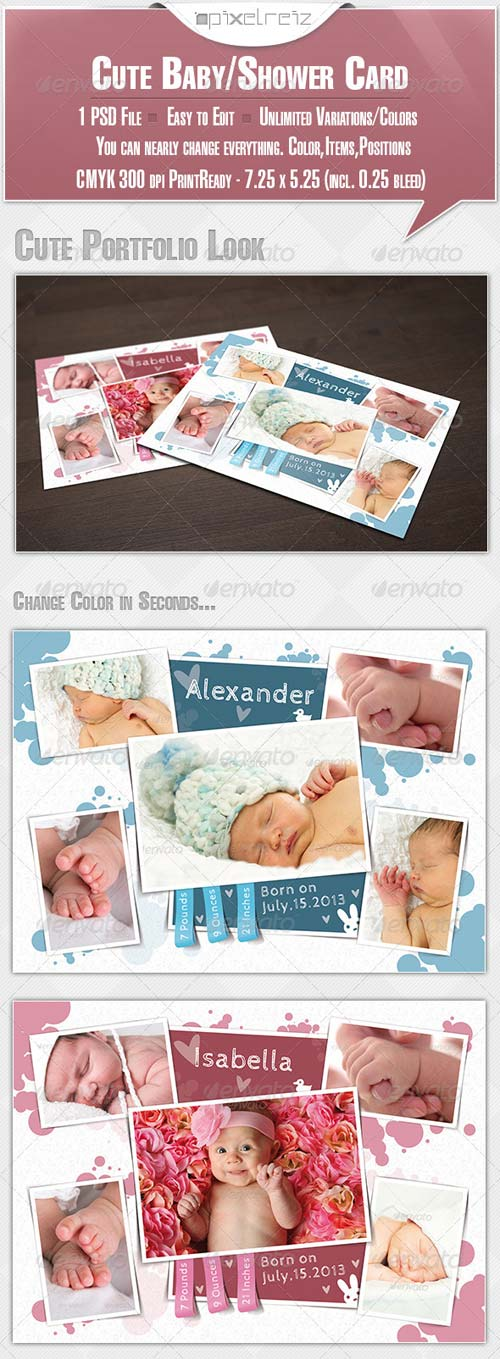 GraphicRiver Cute Baby Announcement/Shower Card