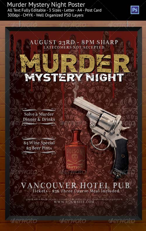 GraphicRiver Murder Mystery Night Flyer/Poster Templates