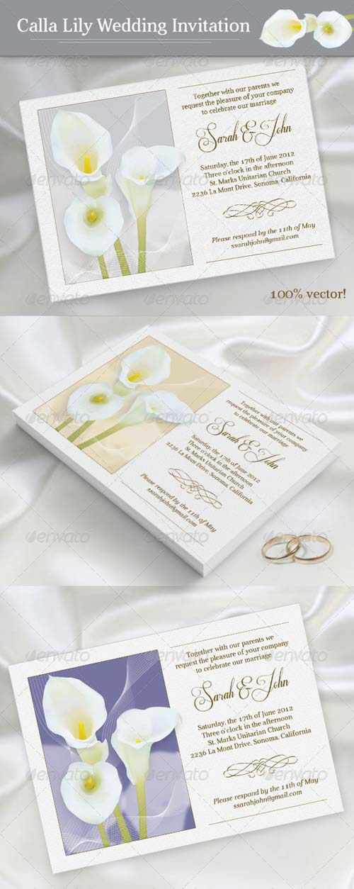 GraphicRiver Calla Lily Wedding Invitation