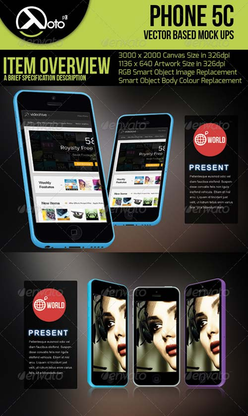GraphicRiver Phone 5c Vector Based Mock-up