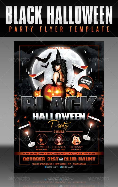 GraphicRiver Black Halloween Party Flyer Template