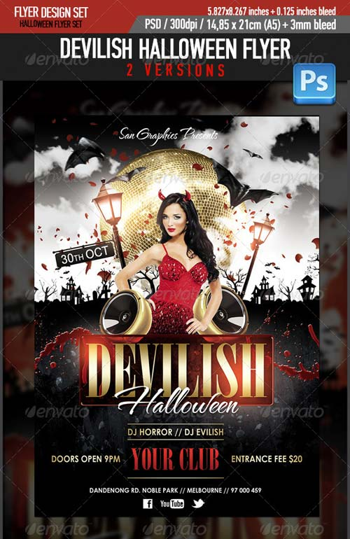 GraphicRiver Devilish Halloween Glamour Flyer Template