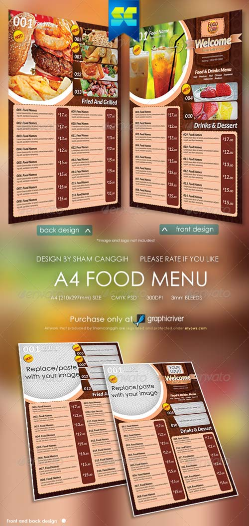 GraphicRiver A4 Size Restaurant Menu