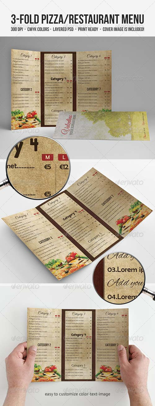 GraphicRiver 3-Fold Pizza/Restaurant Menu