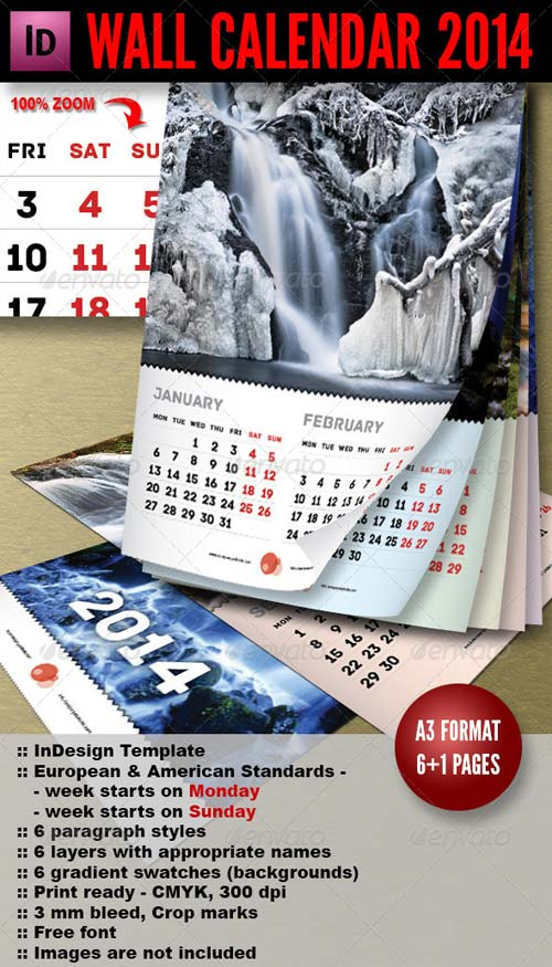 GraphicRiver Wall Calendar 2014 - 7 pages A3