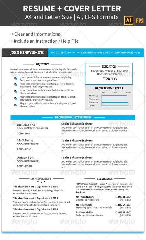 GraphicRiver Professional Resume and Cover Letter A4, 8.5x11