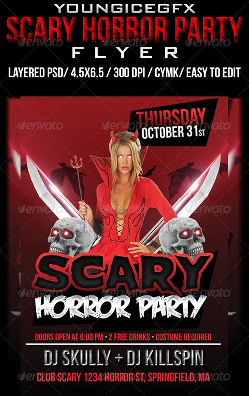 GraphicRiver Scary Horror Party Flyer