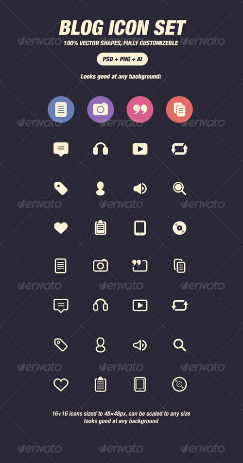 GraphicRiver Glyph Icons for Blog (48px)