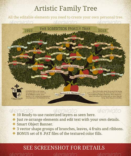 GraphicRiver Family Tree Vintage Style