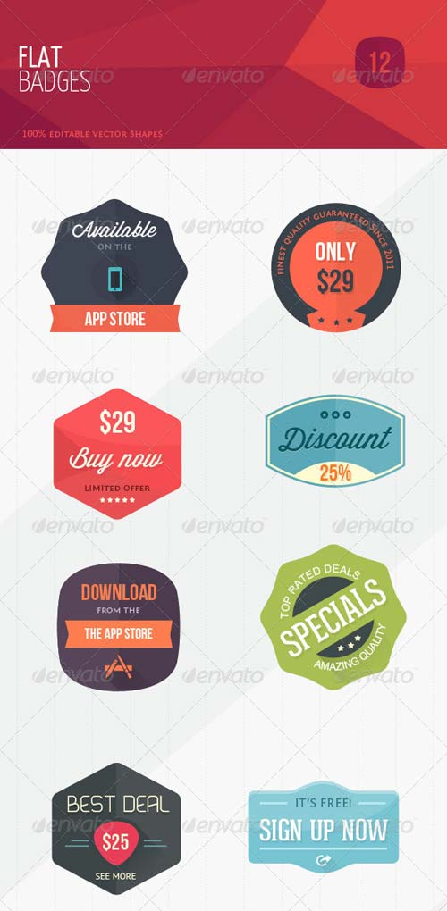 GraphicRiver 12 Flat Sweet Marketing Badges