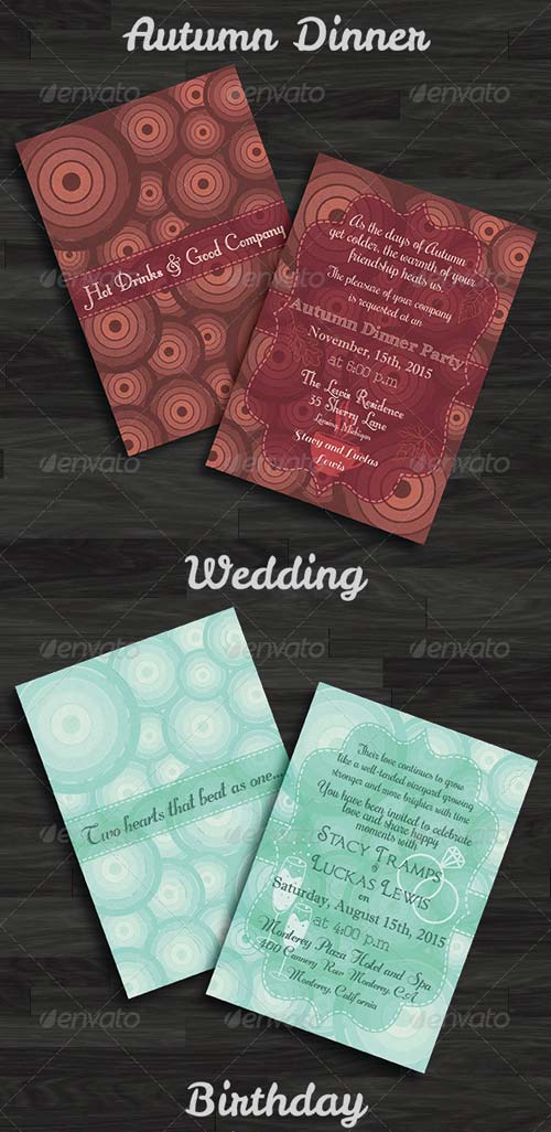 GraphicRiver Wedding, Birthday, Thanksgiving Day Invitations