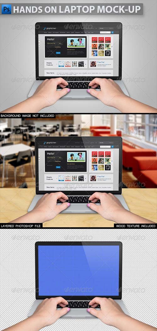 GraphicRiver Hands on Laptop Mock-up 2