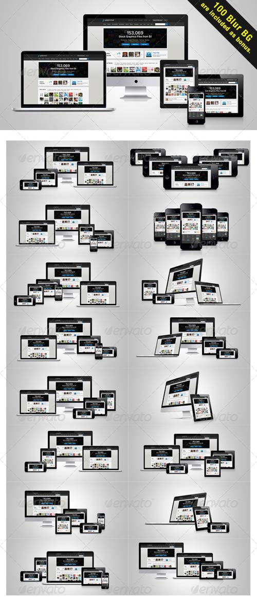 GraphicRiver Mega Responsive web layout Mockup Pack